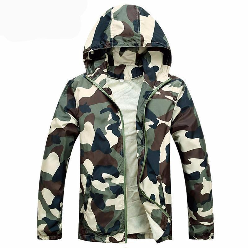 Men Style Spring Classy Cool Rain Light Jacket Hooded Coat Camouflage