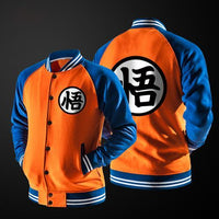 Casual Baseball Sweatshirt Orange Men Japanese Jacket Goku Varsity Fun Cool Blue Anime