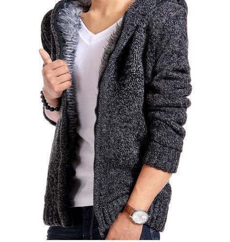Gift Winter Warm Sweater Padded Men Knitted Jacket Hooded Fur Coat Casual Gray Cardigan  Delete product Save