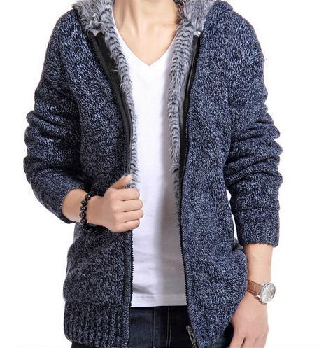 Winter Warm Sweater Padded Men Knitted Jacket Hooded Fur Coat Casual Cardigan