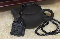 Men Women Necklace Stone Prayer Lucky Jade Carve Buddha Beads