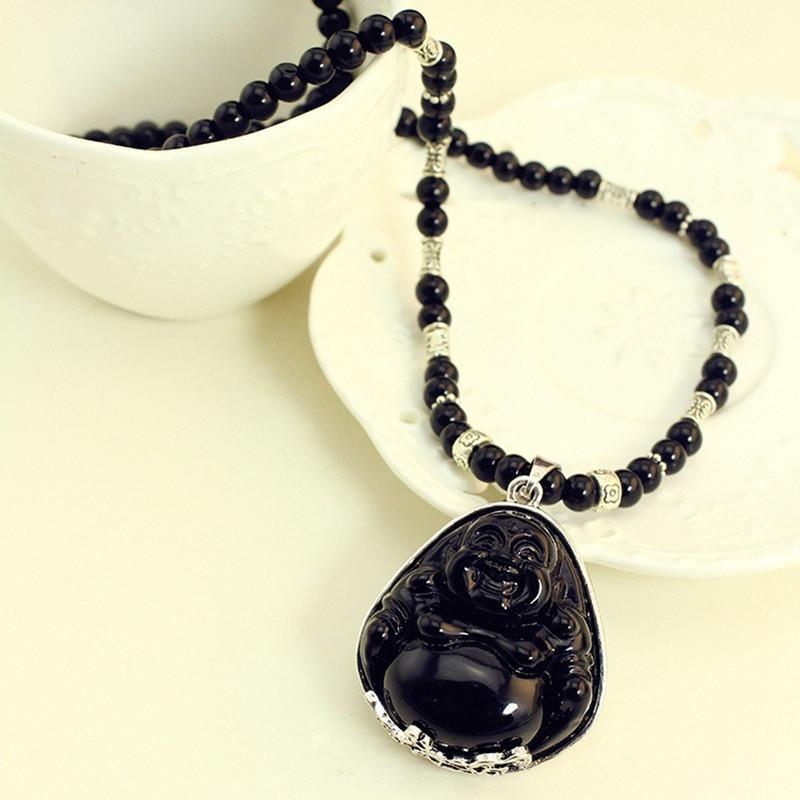 Meditation Prayer Beads Necklaces Jade Happy Buddha Lucky Necklace