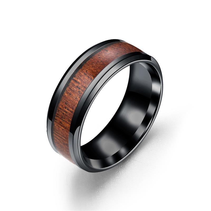High Quality Wood Wooden Titanium Silver Ring Men Gift Designer Birthday