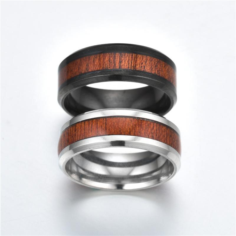Dual Wood Titanium Fashion Rings for Men