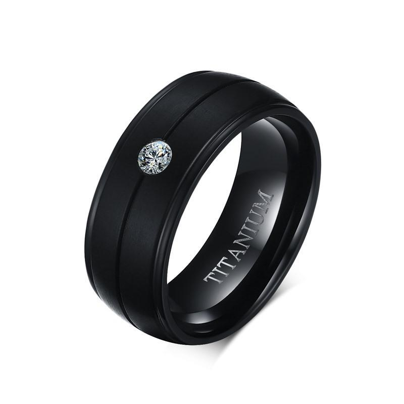 Stone Gift Wedding Titanium Rings Pure Matte Black