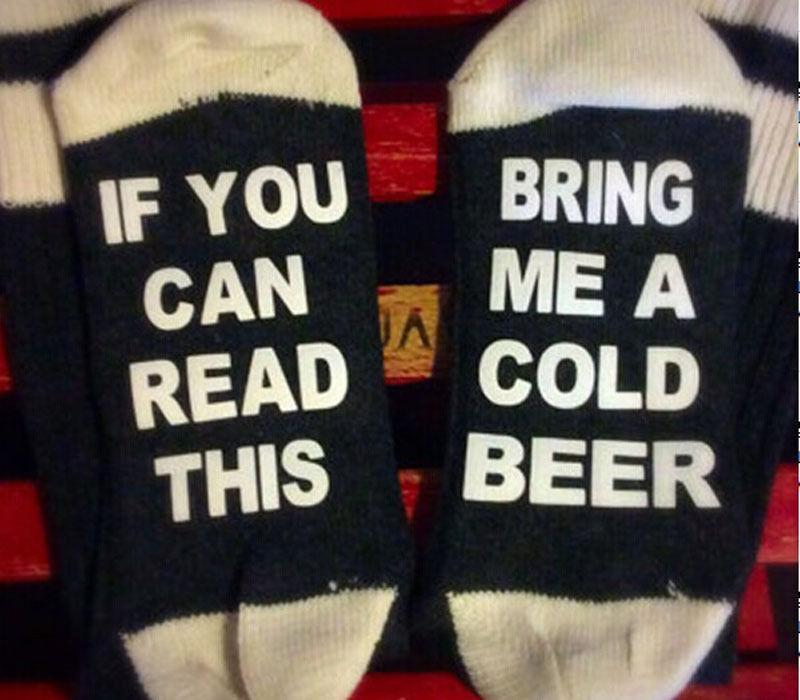 Happy Winter Funny Messages Cotton Men Socks