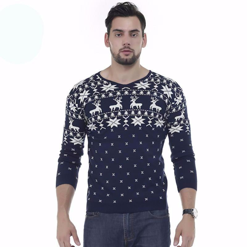 Party Ugly Winter White V-Neck Thin Sweater Snow Light Knitted Holiday Gift Christmas Animal Navy