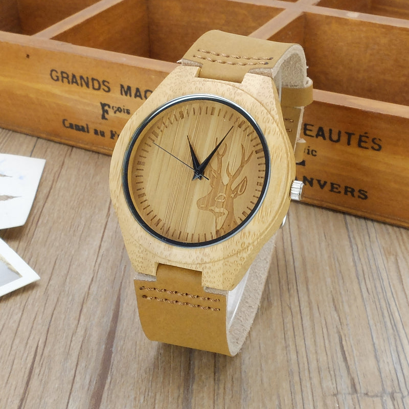 Wooden Wood Cool Classic Watch Unisex Leather Gift Elk Deer Bamboo