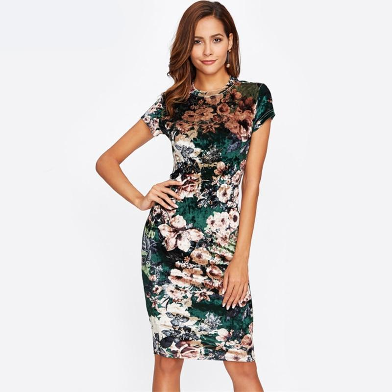 Bridal Party Velvet Summer Spring Party Floral Slim Flower Dress