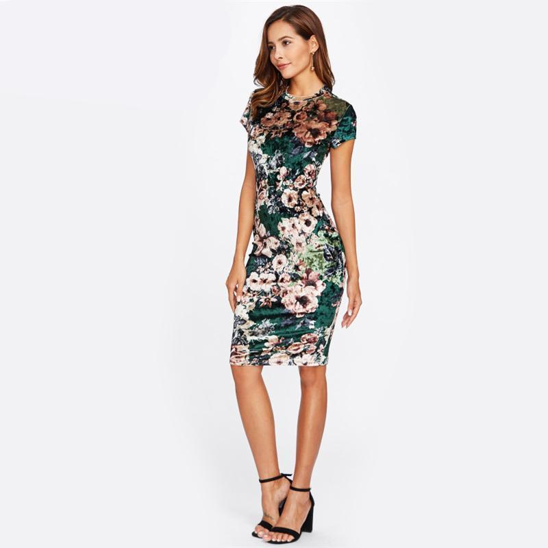 European Velvet Floral Classic Dress