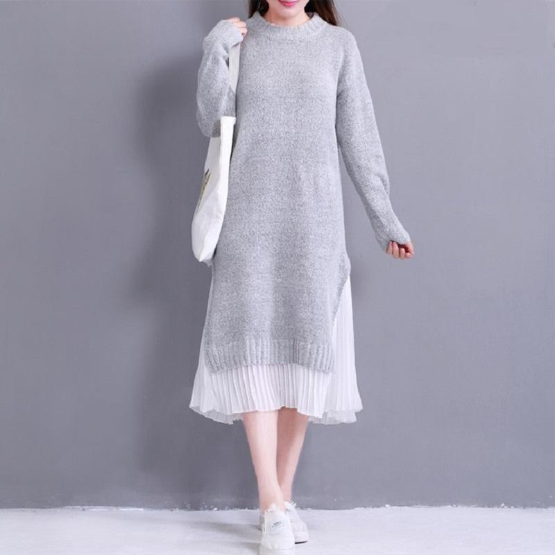 Knitted Chiffon Patchwork Spring Dress