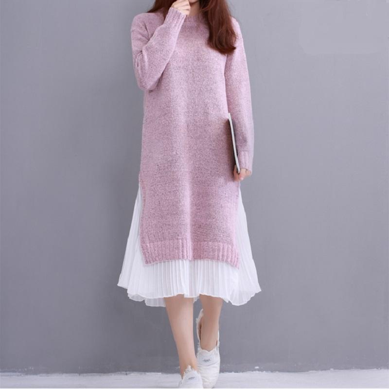 Winter Spring Boho Oversize Loose Long Layers Knitted Dress Cute