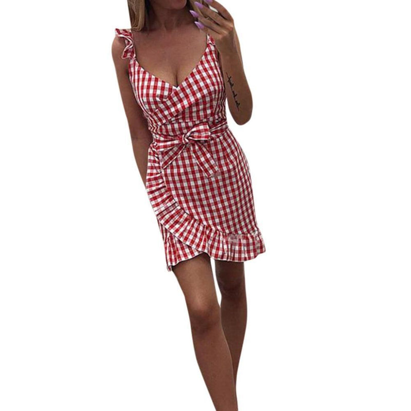 Love in Amalfi Ruffle Plaid Dress