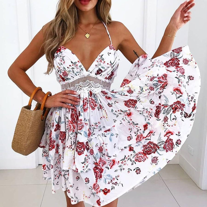 Amalfi Beach Ruffles Back Lace Cover Up Mini Dress