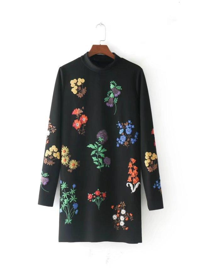 Straight Oversize Loose Korean Japanese Floral Embroidery