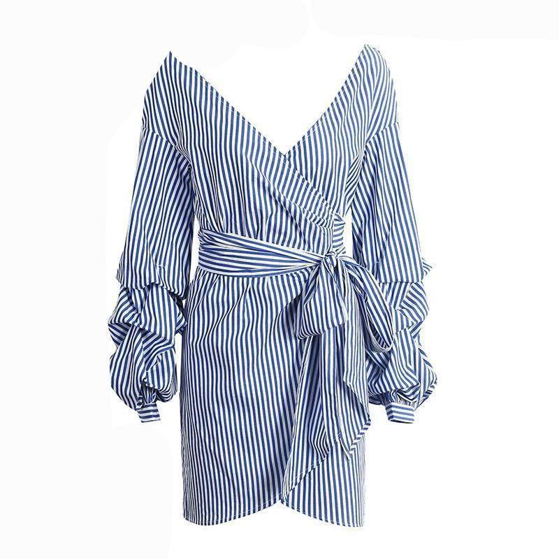 Mediterranean Vacation Off Shoulder Wrap Dress