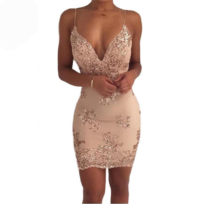 Satin Mini Sexy Cute Night Sequins Party Wedding Club Vegas Dress