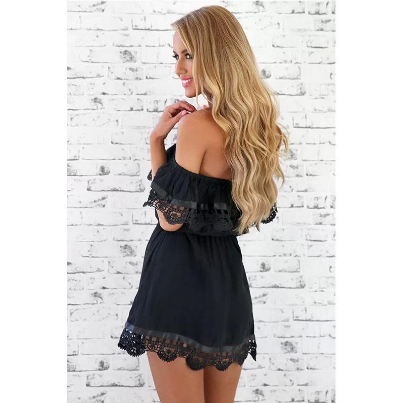 Off Shoulder Mini Vintage Lace Europe Cute Classic Beach