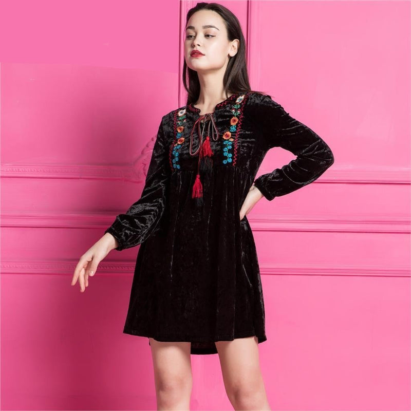 Velvet Paris Moroccan Italy Flower Floral embroidered Dress Cute