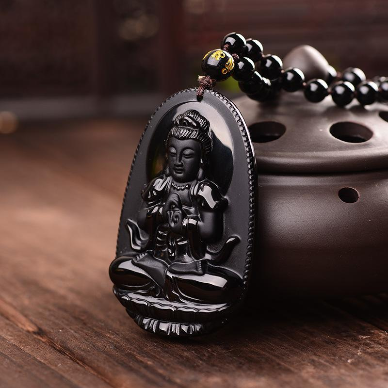 Black Stone Carved Lucky Buddha