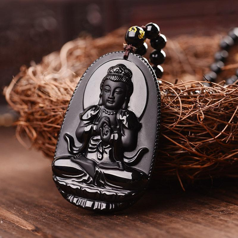 Meditation Yoga Jewelry pendants Black Jade Beads Lucky Carved Buddha