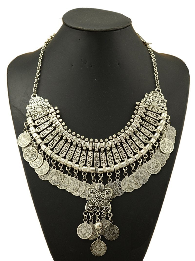 Travel Silver Brass Gift Cute Jewelry Hippie Boho Tribal Gypsy Necklace Coin Vintage