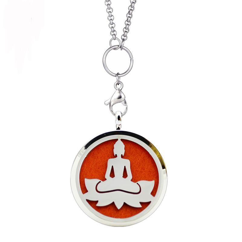 Prayer Cute Lock Scent Praying Buddha Necklace Perfume Essential Oil Aromatherapy