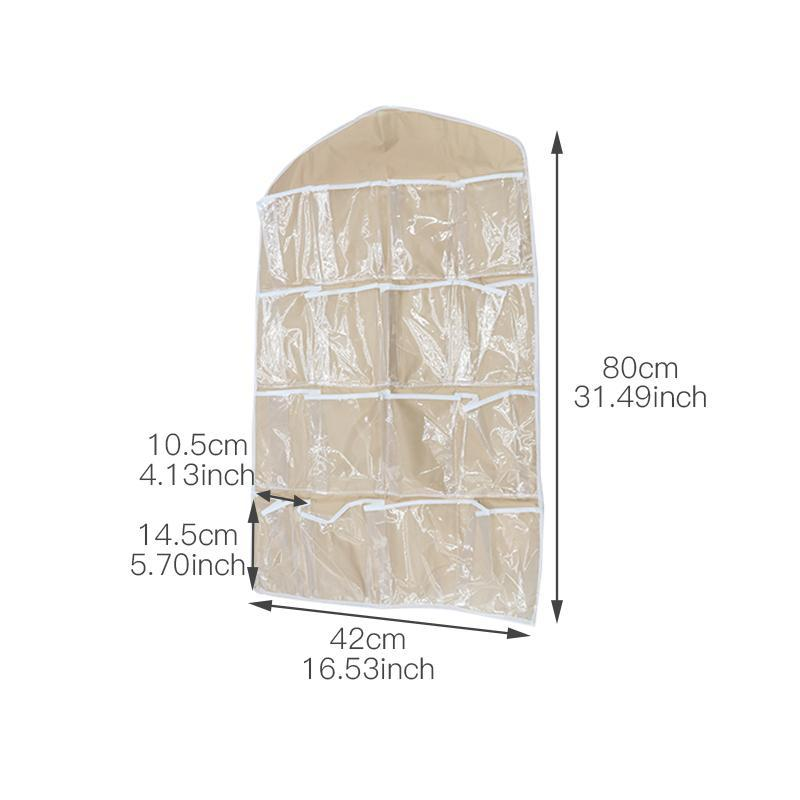 Clear Hanging Closet Organizer (16 Pockets)
