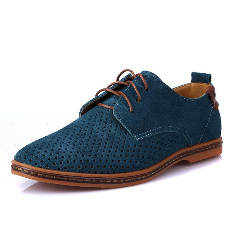 Suede Style Oxfords Mesh Men Leather English Designer Comfy Breathable Brand