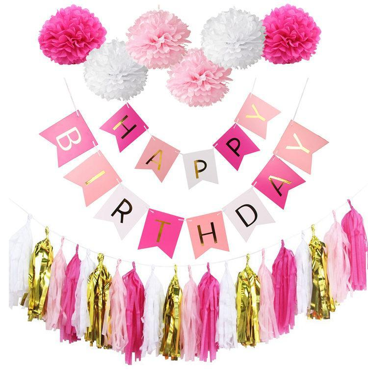 Tissue Paper Tissue Tassels Pompoms Party Decorations Cute Birthday Banner