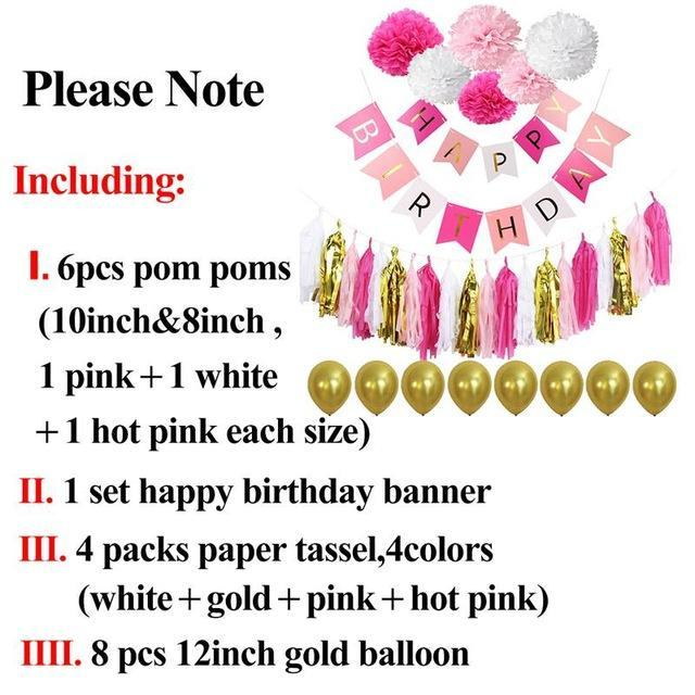 Birthday Tissue Paper Tassels Pompoms Decorations