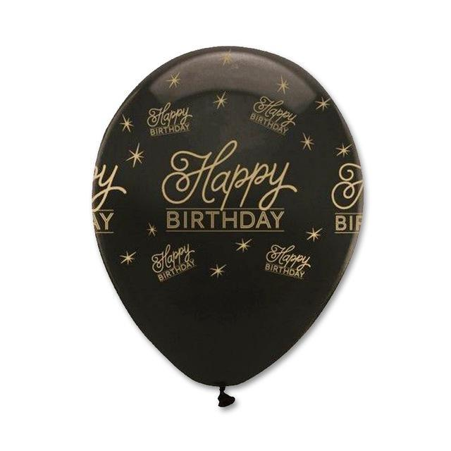 Party Happy Birthday Gold Event Decoration Black Balloons