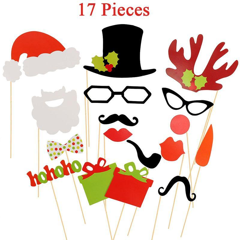Mustache Lips Supply Sign Photo Boot Party Paper New Year Fun Decoration Christmas Balls 2018