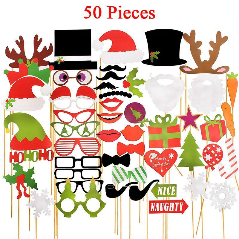 Merry Happy Straw Mustache Lips Supply Sign Photo Boot Party Paper New Year Fun Decoration Christmas Balls 2018