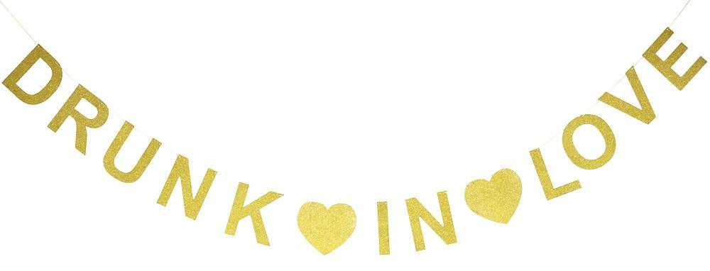 Wedding Party Love Gold Glitter Drunk Decoration Banner Bachelorette