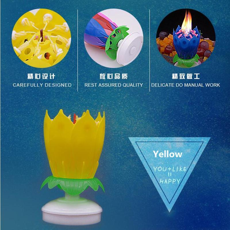 Lotus Flower Birthday Music Singing Candles