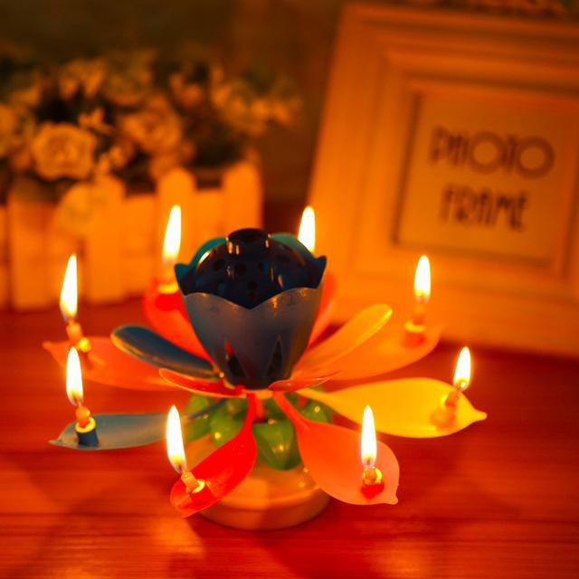 Cute Singing Music Flower Pedals Lotus Candles Birthday Party