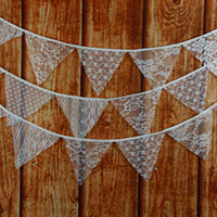 White Wedding Vintage Party Ornaments Lace Hanging Flags Decoration