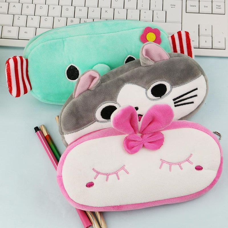 Bow Kitty Cat Stationery Elephant Girls Kids Animal Pencil Case Bag Cute School