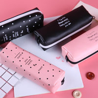 Bag Makeup Black Pink Poke Dot Pouch Pencil Cute