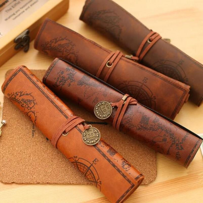 Adventure Supply Art Pencil Pen Holder Case World Travel Map Retro Vintage