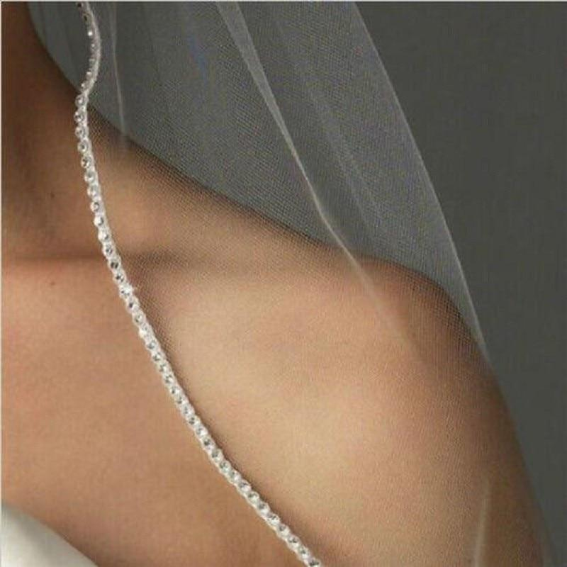 Wedding Veil Silhouette Party Lace Crystal Church Bride Bridal Beaded