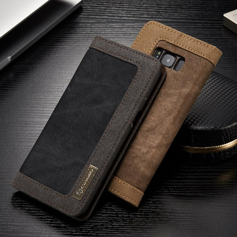 Wallet Samsung Safe S 9 S 8 Protect Plus Note Leather Galaxy Denim Cute Case Anti Shock