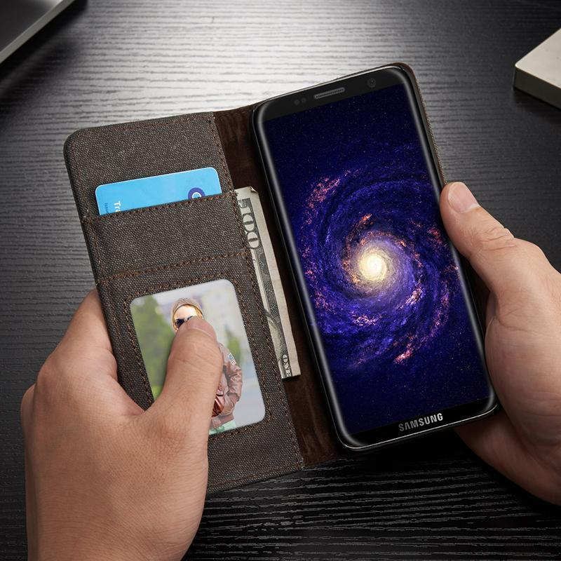 Credit Card Wallet Samsung Safe S 9 S 8 Protect Plus Note Leather Galaxy Denim Cute Case Anti Shock
