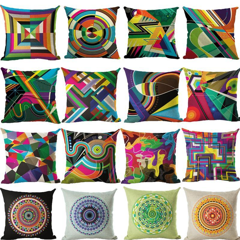 Pillow Home Geometric Fine Art Decoration Cushion Cover Cotton Colorful Art Abstract
