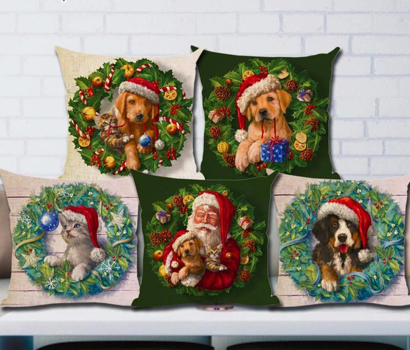 Cushion Cover Case Pillow Snowman Snow Tree Holiday Santa Dog Christmas Decoration