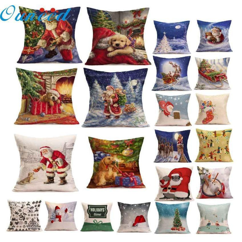 Tree Gift Dog Santa Throw Pillows Holiday Cushion Cover Cushion Christmas Case