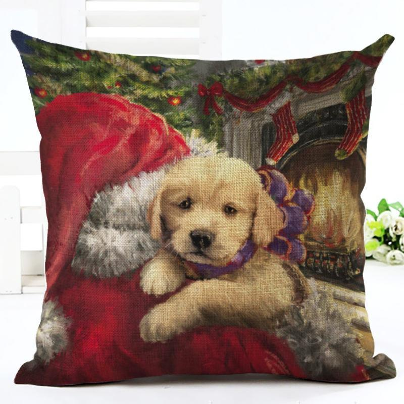Puppy Snow New Year Happy Merry Cute Ornaments Tree Santa Christmas Home Pillow Decoration Holiday