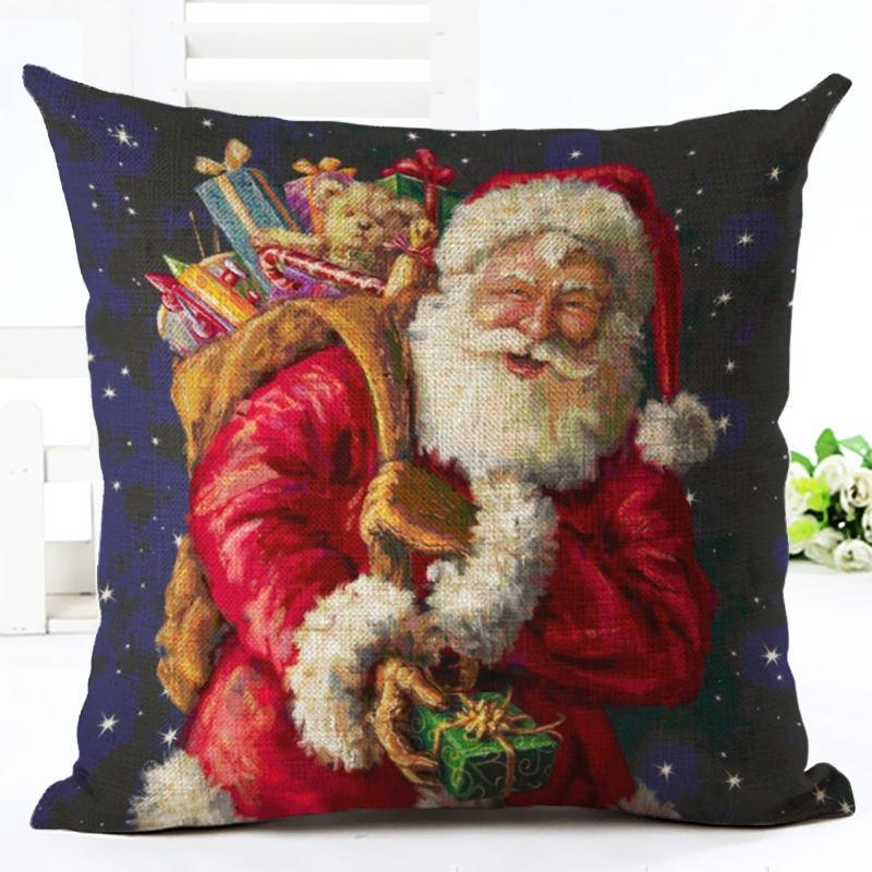 Puppy Snow New Year Happy Merry Cute Ornaments Tree Santa Christmas Home Pillow Decoration Holiday Gift