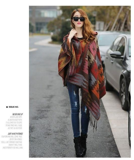 Aztec Hooded Native Wrap Thin Poncho